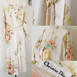 VINTAGE CHRISTIAN DIOR silk/satin floral robe
